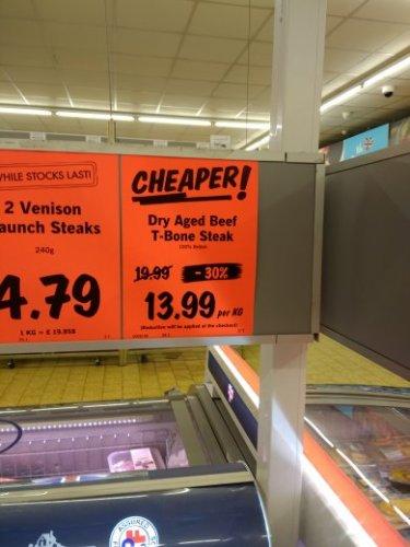 Lidl dry aged t-bone steak £13.99/kg instore