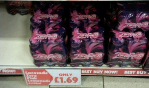Zero pink lucazade 6 bottle pack for £1.69 in Heron foods in Oldham