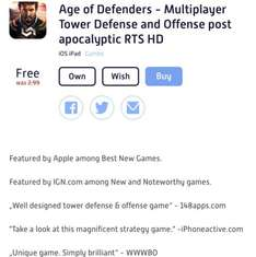 For iPads Age of Defenders - Currently free Normally £2.98