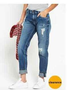 Pepe Jeans PEPE VAGABOND RIPPED TAPERED LEG BOYFRIEND JEAN MID WASH Was £130.00 Now £65.00 / 50% off! @ Very