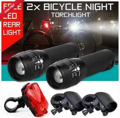 2x Q5 Front lights (zoomable, aluminium alloy) + 2x Bike Mounts + 1x Rear light = £4.49 delivered @ eBay/cyber_hub (UK)