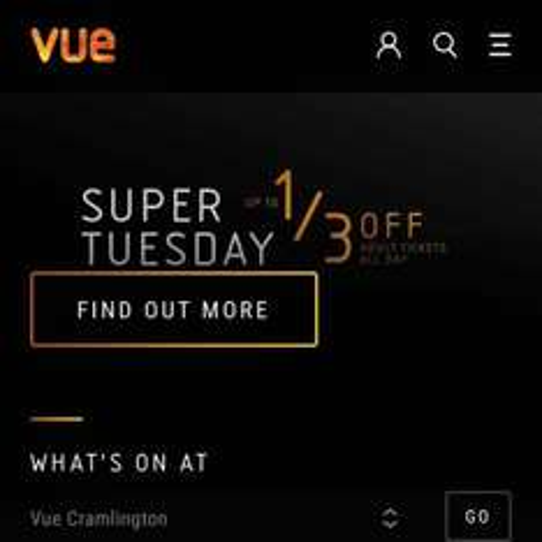 Vue Cinema Valentines Day Super Tuesday 1/3 off £4.99