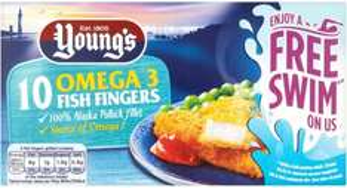 Young's 10 Omega 3 Fish (58% Alaskan Pollock) Fingers Frozen 250g was £1.75 now 87p @ Ocado