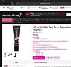 SuperDrug - L'Oréal Infallible Total Cover Foundation  £13.98 for 3 tubes + Free Foundation Blender