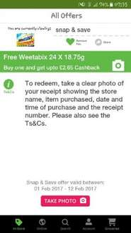Free Weetabix 24 with Snap and save TCB (receipt upload)