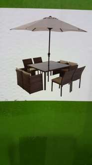 8 seater rattan set with parasol £199 @ Homebase - Scunthorpe