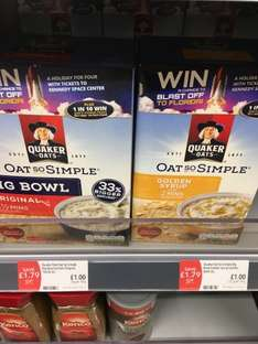 Quaker Oats - Oat So Simple Big Bowl Sachets - 10 x 38.5g sachets (385g) £1.00 @ Co-operative