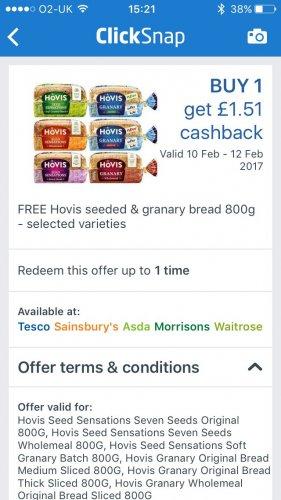 Free hovis loaf on clicksnap £1.51 cashback