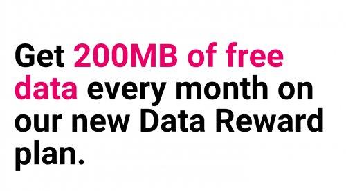 Three Data reward Sim, 200Mb free data every month, no topup required