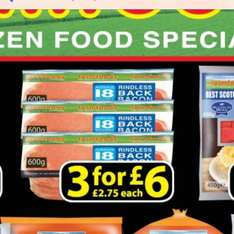 3 packs of 18 rashers of bacon for £6 at Farmfoods