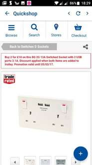 Screwfix - 2 x Double sockets with 3.1A 2 x usb ports £18.00 instore @ Screwfix