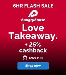 25% Cashback at Hungry House via Quidco - Lightnig Deal! ends 9pm Tonight (EXPIRED)