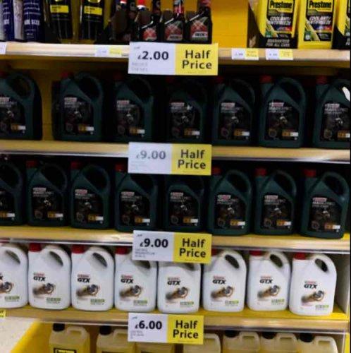 Castrol oil half price at Tesco £9 instore
