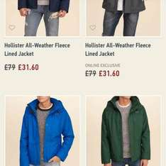 Hollister jackets less than half price £31.60 (C&C) @ Hollister