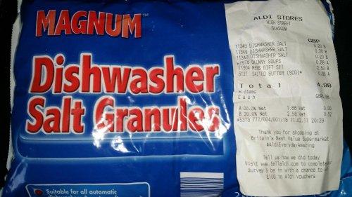 Magnum Dishwasher Salt Granules, 2kg, 20p In Store, Aldi, High Street, Glasgow