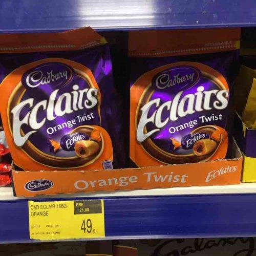 Cadbury Chocolate Orange Eclairs 166g share bag 49p @ B&M