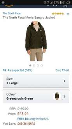 Northface ( North Face ) mens Sangro rosin green Jacket £43.64 on Amazon
