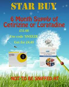Allergy tabs 6 months supply (loratidine or cetirizine) £4.49 @ Clear Chemist