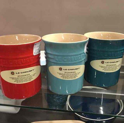 le creuset utensil jar £7.99 at home Sense (part of tk max group)  £28 at Amazon