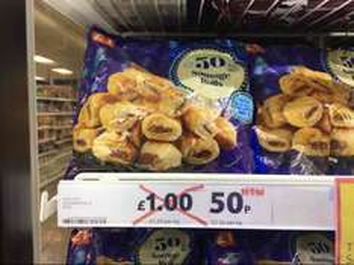Discounted mini sausage rolls 50p Tesco instore