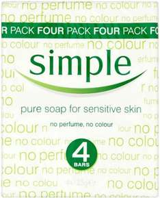 Simple Pure Soap for Sensitive Skin (4 x 125g) was £2.50 now £1.50 @ Tesco