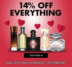 FLASH SALE THE PERFUME SHOP 14% OFF EVERYTHING until 9am Weds 15th Feb