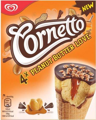 Cornetto Peanut Butter Ice Cream Cones (4 x 90ml) was £2.99 now £1.75 @ Sainsbury's