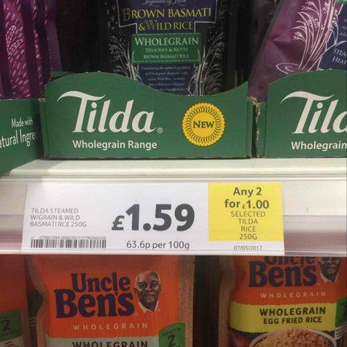 tilda wholegrain rice (several varieties) - 2 for £1 instore @ Tesco Haydock