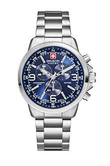 Swiss Military Men's SM34208AEU/H03MS Quartz Watch Analogue Display and Stainless Steel Bracelet - Three dial colours available - black, blue and grey dial RRP: £425 @ Amazon £181.69 free delivery