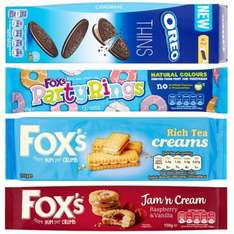 Tesco Biscuit Deals - Oreo Thins 54p, Foxs Party Rings 49p, Fox's Jam Cream Biscuit 49p, Mcvities Nibbles 75p, Fox's Rich Tea Finger Creams 49p