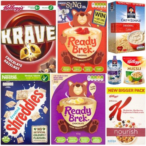 Tesco Cereal Deals - Ready Brek 450g £1, Weetabix Ready Brek 450g £1, Frosted Shreddies 500g £1.24, Chocolate Cheerios 330g £1.24, Shredded Wheat 475g £1.24, Krave £1.39, 22 Pack Quaker Oat So Simple Porridge £1.99, Kellogg's Special K Nourish £1.99