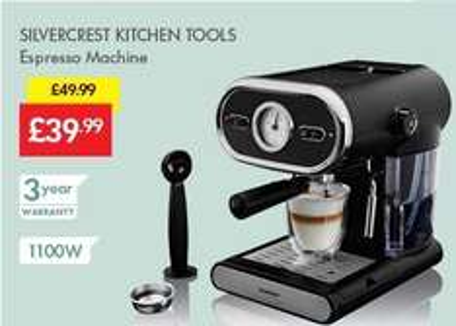 Espresso Machine £39.99 (Was £49.99) - LIDL (Silvercrest) - 3 Year Warranty