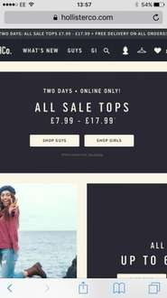 HOLLISTER : All sale tops under £17.99 and FREE DELIVERY ON ALL ORDERS - 10% discount on top for signing up to newsletter
