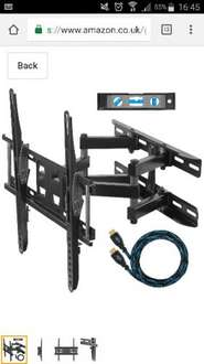 """Dual Articulating Arm TV Wall Mount Bracket for 20-65"""" TVs including a Twisted Veins 10' (m 3) HDMI Cable and a 6"""" (cm 15) 3-Axis Magnetic Bubble Level for £18.96 prime / £23.71 non prime Sold by SPN Imports and Services LLC and Fulfilled by Amazon"""