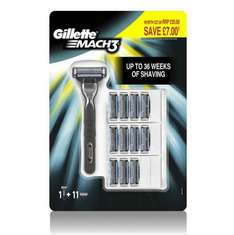 Gillette Mach 3 razor with 12 blades (11+1). £10 at Amazon or £9.50 with subscribe and save.  Delivery is extra if order under £20.