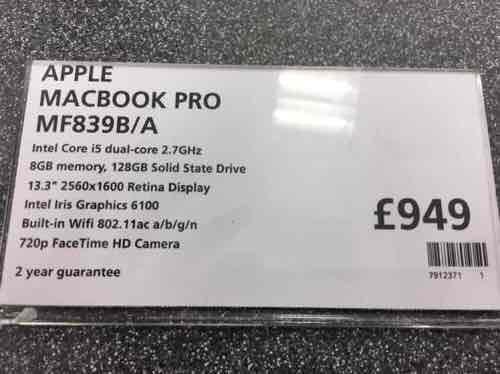 MacBook Pro 2015 - £900 with 3 Year Guarantee (RRP for £1,249.99) - John Lewis/Waitrose