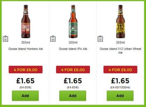 Goose Island Ale (3 varieties) 4 for £6 at Asda