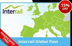 15% off all Youth Inter railing passes