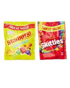 Wrigley's Starburst Starburst - Chewy sweets with Apple, Orange, Blackcurrant, Strawberry, Lime and Lemon flavours with concentrated fruit juices.(165g) / Chewy sweets in a crispy sugar shell with fruit flavours.Skittles (152g) 85p each pack @ Aldi