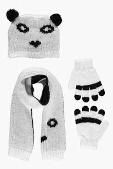 Girls Panda Hat Scarf & Gloves Set - Boohoo £3 + Delivery (price varies from Free to £3.99 depending on code used / time of day)