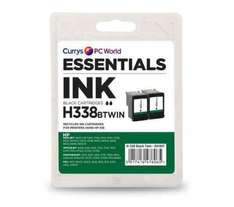 ESSENTIALS H338 Black HP Ink Cartridges 97p - Twin Pack- Currys