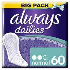 Always Dailies Panty Liners Normal - 60 liners £2.40 Amazon Add on