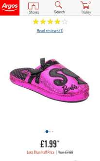 Buy Barbie Slippers - Size 8- 11 available £1.99 @ Argos.