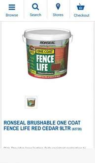 Ronseal Brushable One Coat Fence Life Red Cedar 9Ltr | Fence Paint | Screwfix.com - £7.99