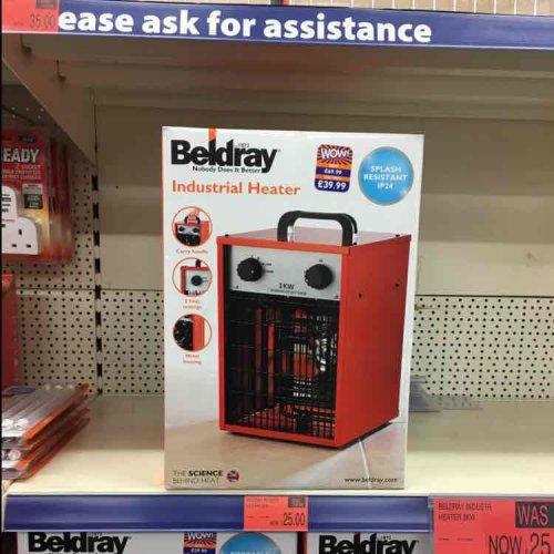 B&M industrial heater 3kw £25 was £39.99