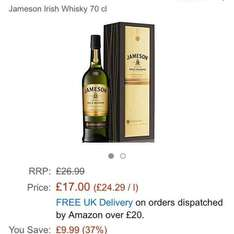 Jameson Gold Reserve Triple Distilled . Three wood Maturation Irish Whisky only £17 (£21.75 non-Prime) at Amazon. Whisky Exchange currently have this priced at £69.95