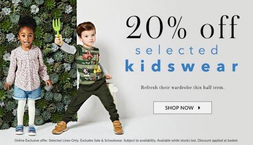 asda george 20% off selected kidswear - Online offer