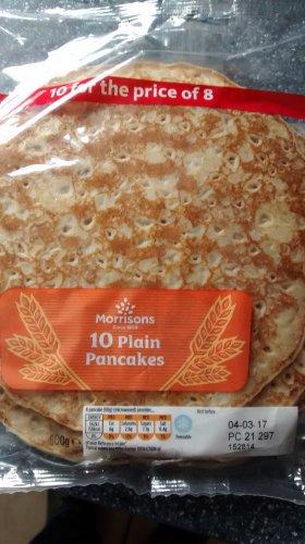 Morrisons Large Plain Pancakes  10 per pack £1.00  / Scotch Pancakes 8pk and Lemon & Raisin Pancakes 8pk  priced at 2 for £1.00