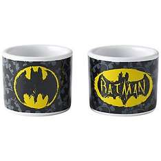 Batman egg cups set of two - lasting Easter gift.  From 7.99 to 2.99 free C&C or delivery £2.99 from Lakeland