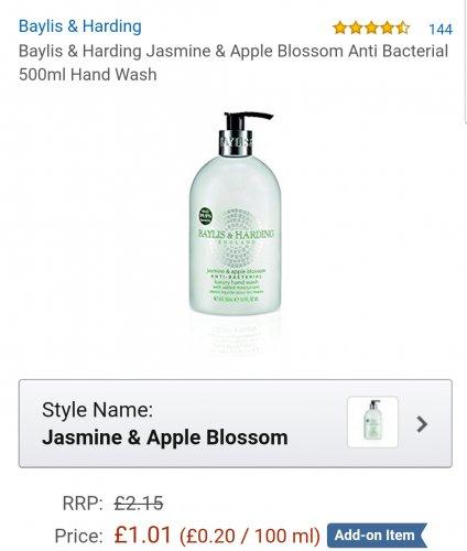 Baylis & Harding Jasmine & Apple Blossom Anti Bacterial 500ml Hand Wash  £1.01 @ Amazon add on item